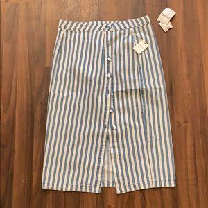 Blue Stripped Forever 21 Skirt; Size XL